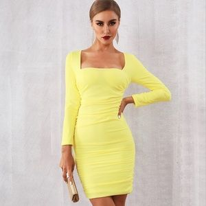 Yellow Ruched Dress